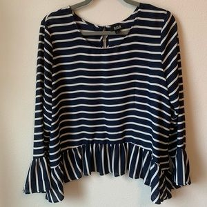 Tops - Chiffon Top stripped bell sleeve blouse
